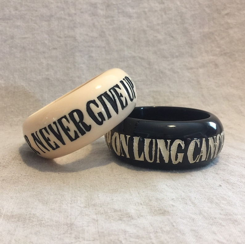 Never Never Give up on lung cancer  Nantucket Bangle image 0
