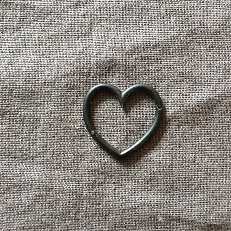 Heart Connector   Oxidized Silver image 0