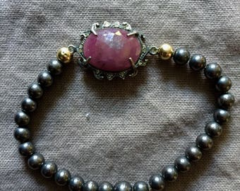 Oxidized Silver Bead Stretch Bracelet with Ruby and Diamond Pave Center