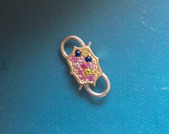 Multi-colored sapphire 10k gold and silver double-ended padlock