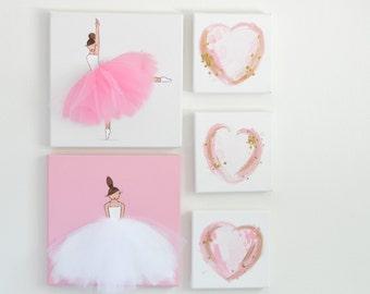 Girl Nursery Decor Set, Nursery Art, Kid's Wall Decor, Pink Art Set, Ballerina Decor, Ballerina Art, Nursery Art Set, Girls room decor