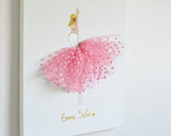 Personalized Art for Girl's room, Pink Nursery Wall Art, Ballerina Art, Gift Baby Girl, Ballerina Painting Personalized print