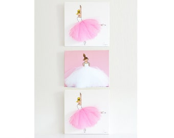 Ballerina Nursery Art, Kid's Room, Ballerina Art, Pink Art (Set of 3 Ballerina Canvases)
