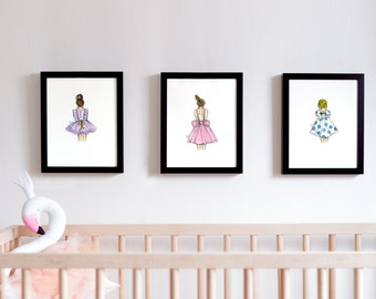Set of Girls Nursery Prints, Girls Room Print, Girls Nursery Decor, Ballerina Print, Nursery Printable Art, Baby Girl Print, Girl Dress Art