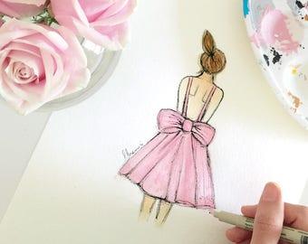Girls Nursery Prints, Girls Room Print, Girls Nursery Decor, Ballerina Print, Christening Dress Art, Baby Girl Print, Girl Nursery Art Pink
