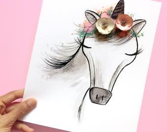 Unicorn Print, Baby girl nursery decor, Unicorn nursery art, Unicorn Party, Pink Unicorn, Girls Room Decor, Unicorn Birthday, Girly Print
