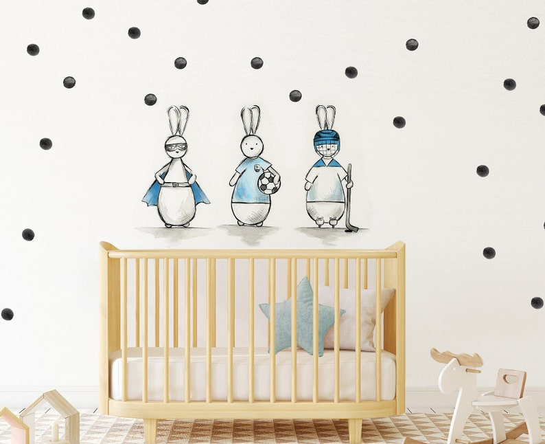bunnies vinyl wall stickers polkadot nursery wall decals | etsy