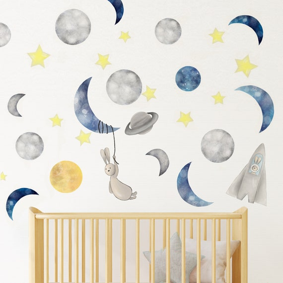 Watercolor Moon Wall Decal Removable Planet Space Sticker Kids Room Decor