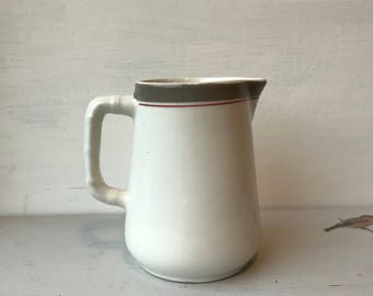 Vintage little Sampson bridgwood ironstone jug - made in England - white, grey and red