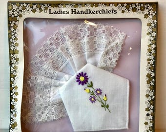 Vintage set of two ladies handkerchiefs - lace and flower design - purple and yellow flowers