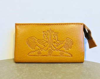Vintage brown leather purse with twin chicken design - vintage wallet - vintage coin purse