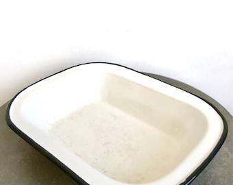 Vintage black and white enamel dish - retro kitchen - made in poland - home decor
