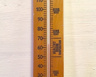 Vintage wooden thermometer with hanging hook - up to 120 fahrenheit - made in england  - wall decor