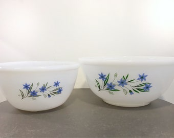 Vintage set of two opalware mixing bowls woth blue flower pattern - kitchen decor - made in england - phoenix