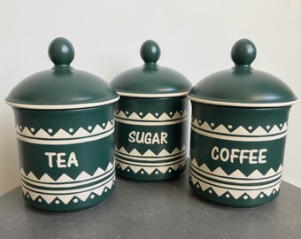 Trio of dark green, ceramic coffee, tea and sugar canisters with lids from hornsea - inca range - kitchen storage canister set