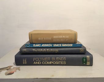 Vintage set of blue books for display - blue collection for decorating bookshelves - vintage decor