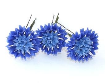 Hair accessories, wedding accessories, hair pin, bobby pin,  hair clay flower, blue cornflower