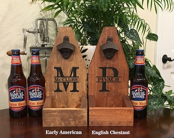 Bottle Cap Catcher Personalized Bottle Opener Cap Catcher Christmas Father's Day Groomsmen Gift  Wooden Bottle Opener Man Cave