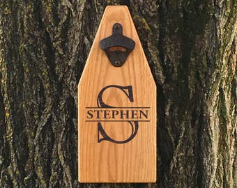 Personalized Beer Bottle Opener Wooden Sign Monogramed Bottle Opener