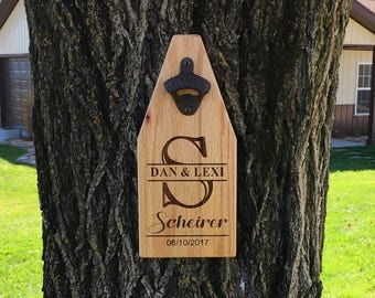 Personalized Beer Bottle Opener Wooden Sign Wedding Monogram Bottle Opener