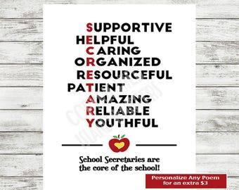 Secretary Print School Thank You Printable Administrative Assistant Gift Best Instant Download