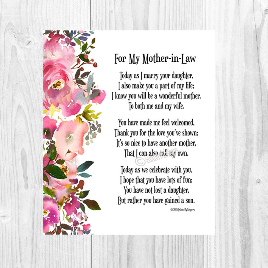 Wedding Gift For Mother In Law: Mother-in-law Wedding Gift Wedding Poem Future In-law