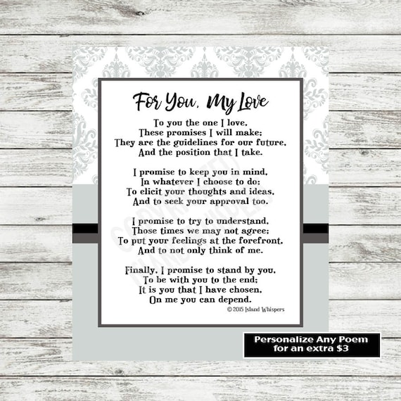 Items Similar To Wedding Poem For Groom, Wedding Poem For