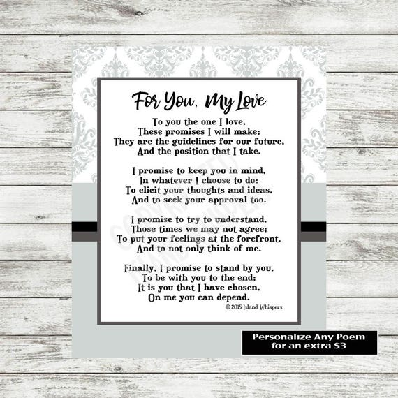 Wedding Poems For Bride And Groom: Items Similar To Wedding Poem For Groom, Wedding Poem For