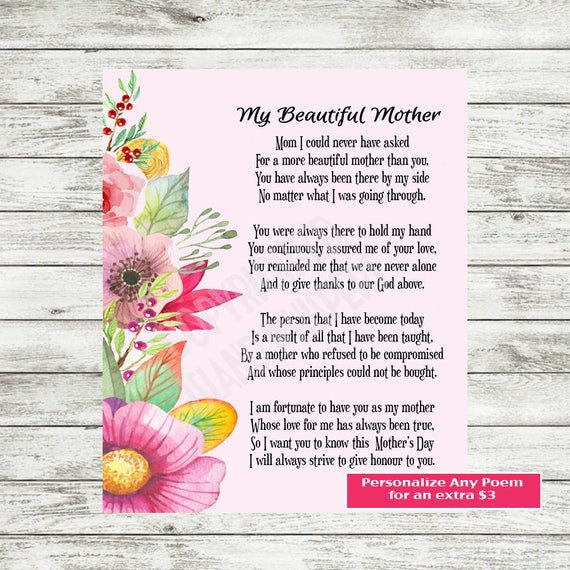 Mother Poem Gift Mother Poem Mom Printable Mothers Day Etsy