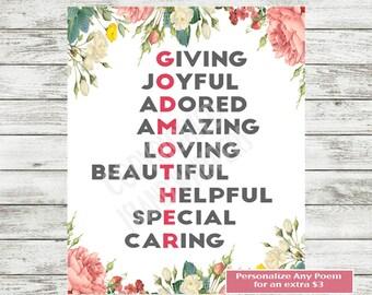 Godmother Gift, Godmother Acrostic Poem, Godmother Printable, Baptism Gift, Christening,Godmother Birthday Gift, Godmother, Instant Download