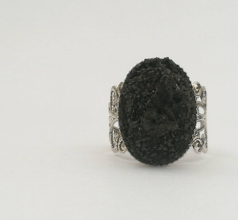 botanical ring band. celtic ring Oval stone ring in Etna lava rock natural stone sustainable gifts for her Black gothic ring