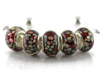3 Grosses Perles Palet  Galet Rond 35mm en Verre Orange et Blanc Artisanales