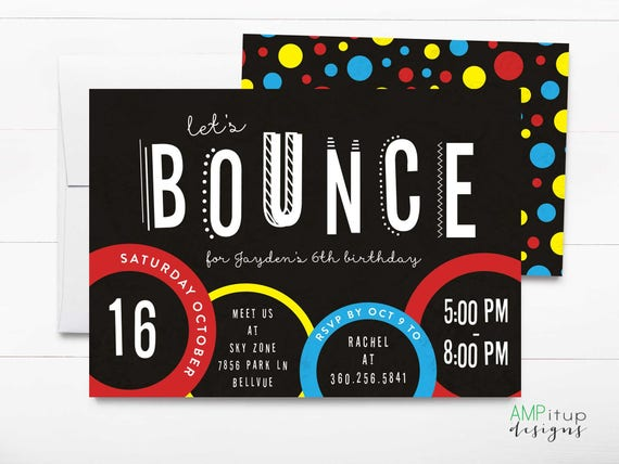 Trampoline Party Invitation Lets Bounce Birthday