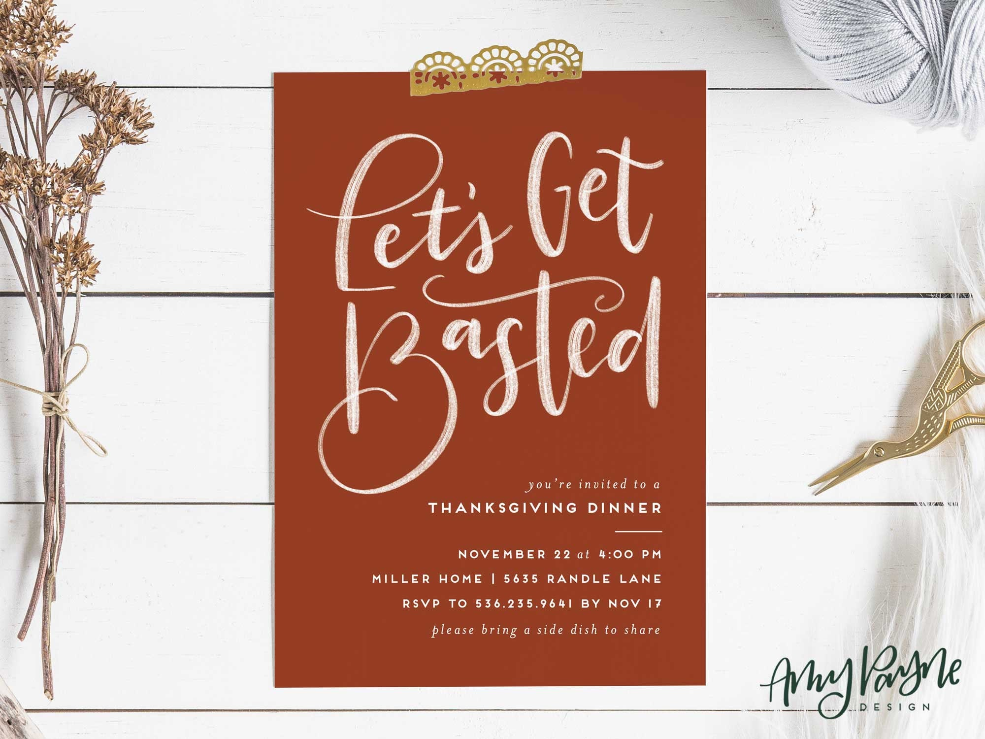 let s get basted thanksgiving dinner invitation printable
