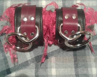 Leather and lace bdsm Restraint Cuffs