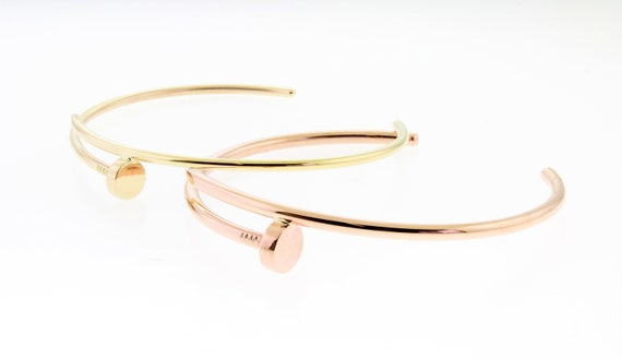 14 K. Solid Gold (Not Hollow) 2.00 mm. or 2.50 mm. Cuff Nail Design Bangle Bracelet White, Rose, or Yellow Gold, Handmade