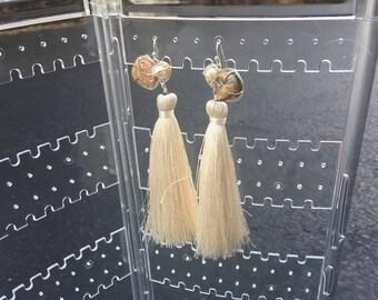Chalcedony Agate- Freshwater Pearl- Cream Tassel Earrings