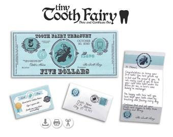 Tooth Fairy Letter & Certificate Set - Instant Download PDF File - Fully Editable Text File- Tiny Miniature Letter - Print and Cut SVG File