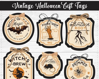 Vintage Halloween Printable Gift Tags - Halloween Gift Tags - Instant Download PDF File - Neighbor Holiday Gift