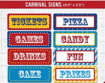 Carnival Party Signs Printable- Editable Text PDF- Instant Download- Personalize at home with Adobe Reader- Red White & Blue- Dots - Stripes