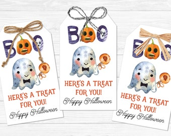 Boo Here's a Treat For You Gift Tags - Halloween Gift Tags - Instant Download PDF File - Neighbor Holiday Gift