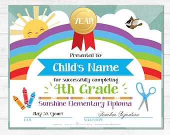 Elementary School Graduation Diploma Certificate - Kindergarten - Instant Download PDF File -  Fully Editable Text File- Student - Teacher