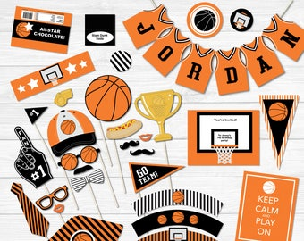 Basketball Printable Party Package- Birthday Collection- Fully Editable Text PDF- Personalize at home- Adobe Reader- 40 Pages