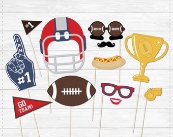 Football Photo Booth Props - Lips & Mustaches- DIY Instant Download- Print at Home -  Blue Red White - Sports