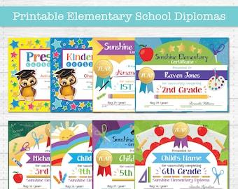 Elementary School Graduation Diploma Certificates - Preschool, Kindergarten, Elementary Grades - Instant Download PDF File -  Fully Editable