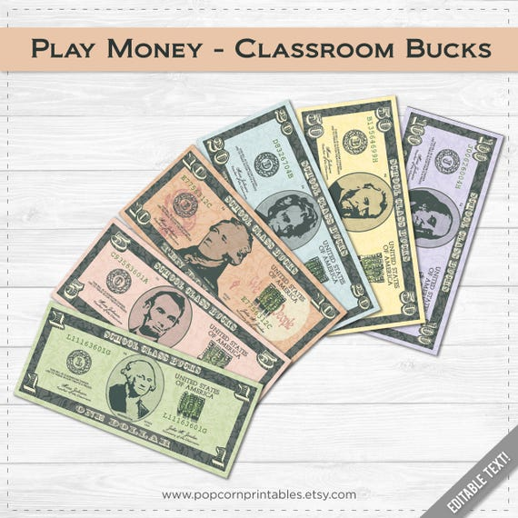 Classroom Bucks Play Money Instant Download Pdf File Etsy