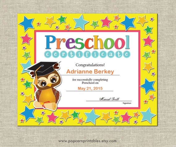 preschool graduation diploma certificate instant download | etsy