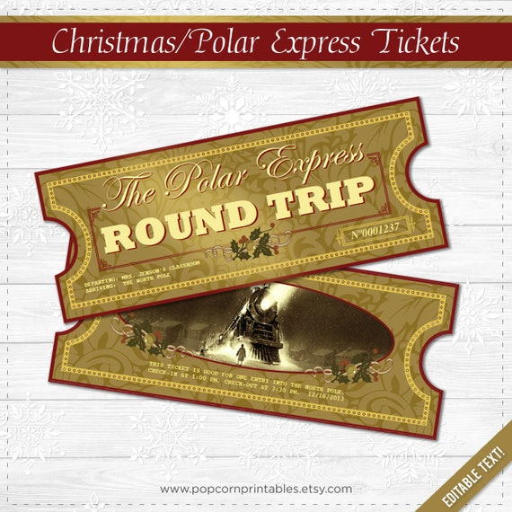 picture about Printable Polar Express Ticket titled Polar Specific Tickets - Immediate Obtain PDF Record - College or university Get together- Entirely Editable Terms History- 2 Webpages - Xmas Printable - All Aboard