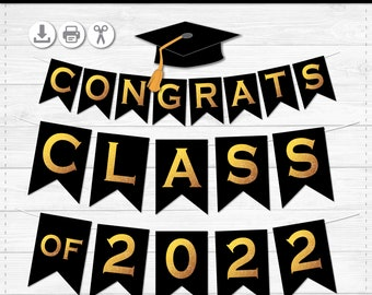 Printable Graduation Banner - Class of 2022 - FULL ALPHABET - Create Any Banner - Instant Download PDF file - Sizes Medium and Large