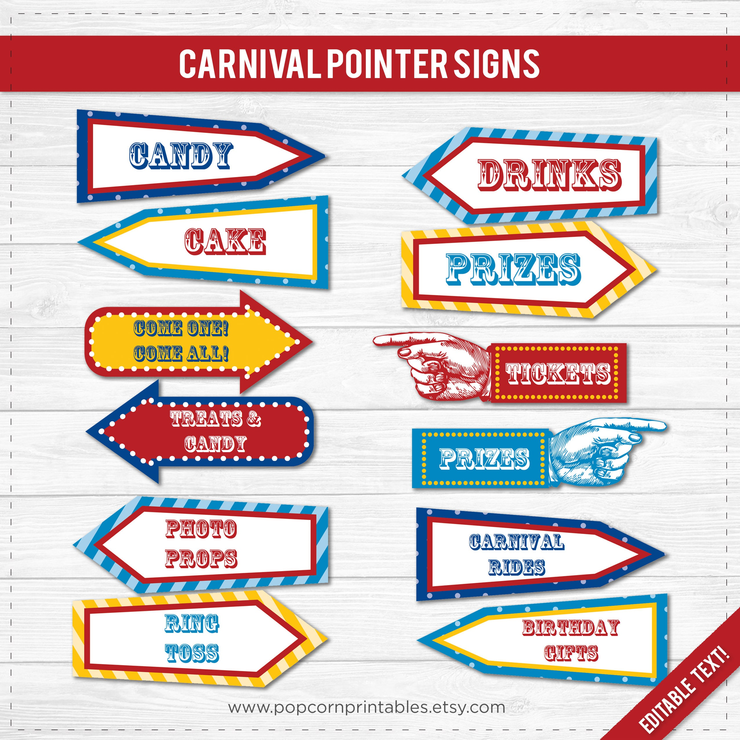 carnival party signs printable editable text pdf instant